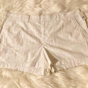 Gap NWT White Eyelet Shorts Plus Size